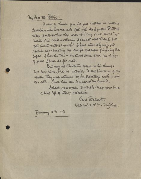 Schmitt to Belloc - 1913-2-16 - from Boston College
