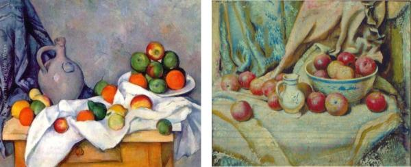 Cezanne Apples - Schmitt Still Life side by side