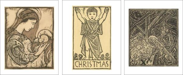 Christmas woodcuts - cards 2