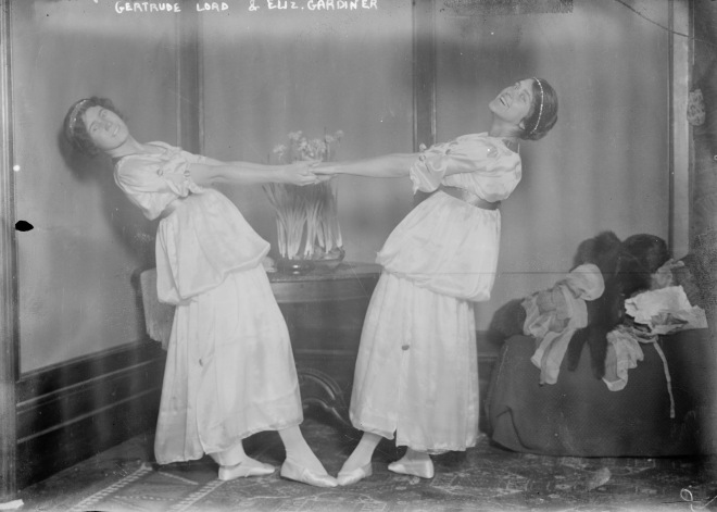 Gertrude Lord and Elizabeth Gardiner dancing - CROPPED