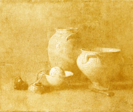 early still life (pot, egg, garlics) (faded)