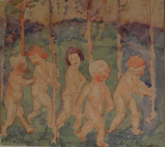 Babies walking watercolor