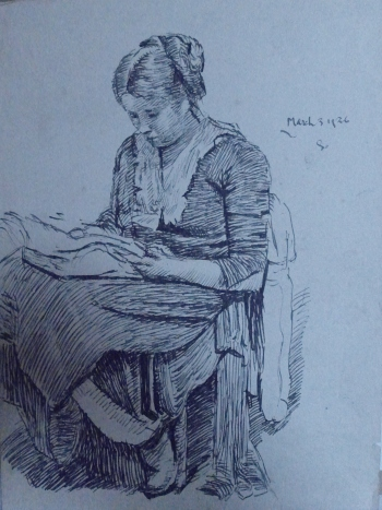Gertrude Sitting and Reading - pen and ink sketch