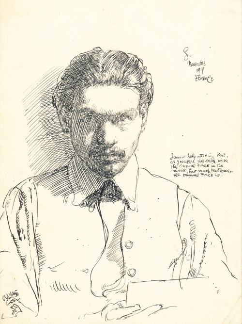 self-portrait November 1914 - pen and ink - CROPPED