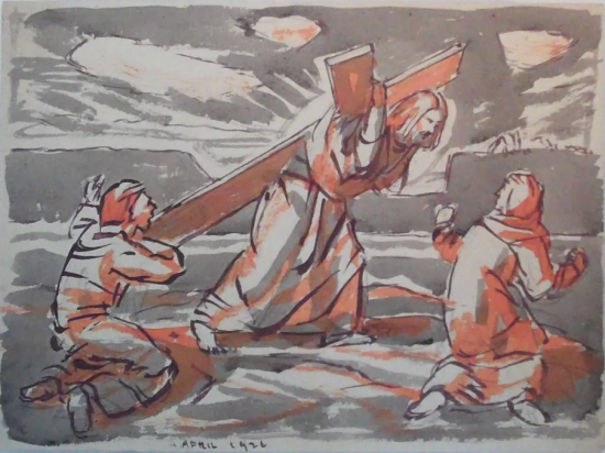 Carrying of the Cross with Two Figures