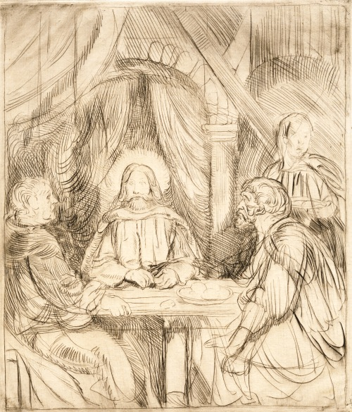 Christ at Emmaus - etching - CROPPED